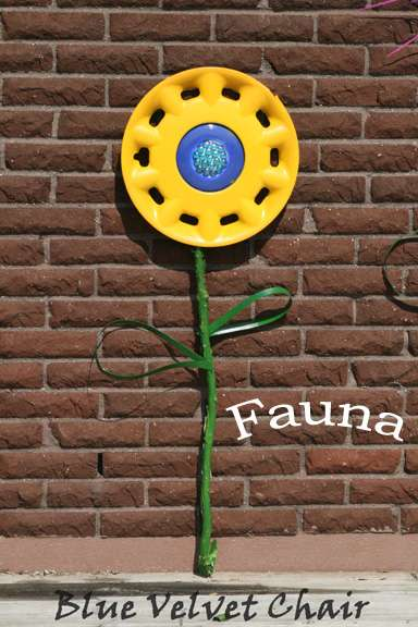 Recycled Hubcap Flower Garden