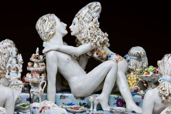 Lascivious ceramic figurines