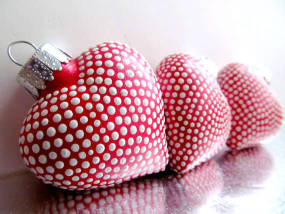 Dotted Heart-Shaped Ornaments