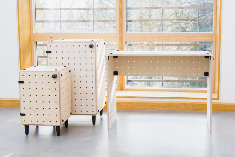 Flat-Pack Pegboard Furniture